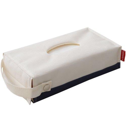 東洋ケース ストレリアプラス ティッシュケース 取っ手付き アイボリー/ネイビー ESTP-TC-IVNV