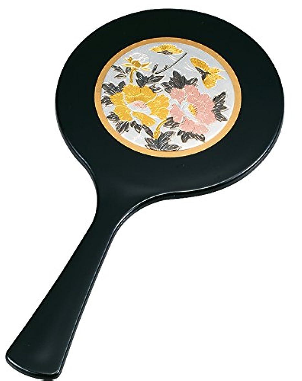 店主顎脅迫中谷兄弟商会 山中漆器 丸手鏡 彫金 牡丹33-0903