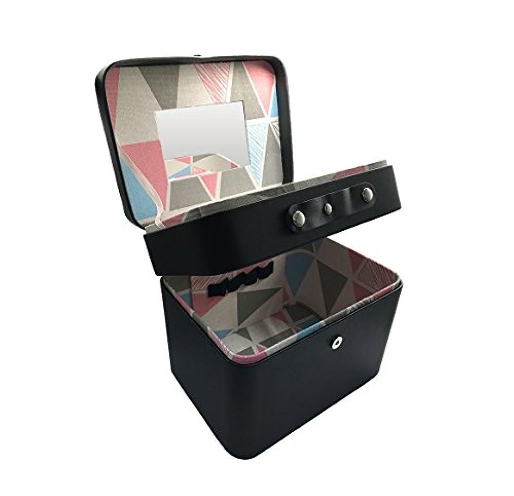 人柄混乱したペインティングSZTulip コスメボックス メイクボックス 大容量収納ケース メイクブラシ化粧道具小物入れ 鏡付き 化粧品収納ボックス (ブラック)