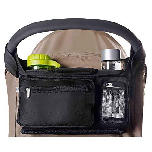 ベビーカー用バッグ ベビーカー ドリンク ホルダー ポケット オーガナイザー 9ポケット整理収納 ドリンクホルダー 2個 大容量ネットポケット付き