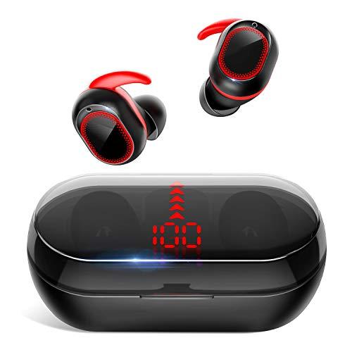 【最先端Bluetooth5.1&瞬時接続】 Bluetooth イヤホン 自動ペアリング HiFi高音質 完全ワイヤレス イヤホン CVC8.0イズキャンセリング LEDディスプレイ電量表示 ブルートゥース イヤホン IPX7防水 左右分離型 音量調節 マイク内蔵 両耳通話 技適認証済 iPhone/ipad/Android対応 (レッド)