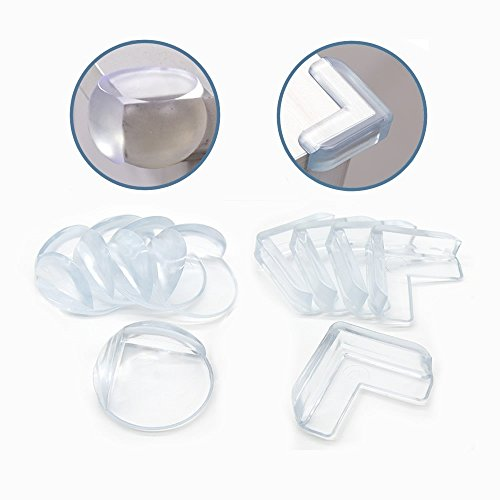 20個セット(L型10個、丸型10個) 家具コーナーガード 赤ちゃん/子供/年配の方ケガ防止 3M両面テープ付き 透明で柔らかい