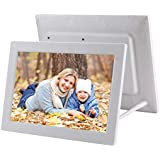 12.1 inch Digital Photo Frame with Holder & Remote Control, Allwinner F16 Program, Support SD/MMC/USB Flash Disk(Black) Durable (Color : White)