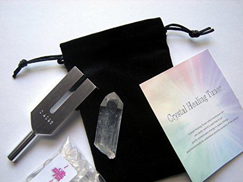 【浄化】クリスタルヒーリングチューナー 天使界の扉4096Hz (ヒマラヤ産水晶ポイント・ブラックポーチ・日本語説明書・おまけ《水晶さざれAAA100g》付) 音叉