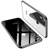 TORRAS iPhone XR ケース 6.1インチ TPU 背面クリア+メッキ加工 薄型 黄変防止 ソフト アイフォンXR 耐衝撃カバー(ブラック)