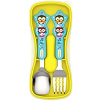 Edison Kids Straight Edge Spoon & Grooved Noodle Fork Set with Case (Blue) [並行輸入品]