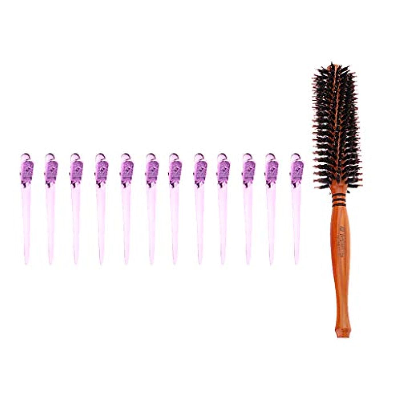 去る魅惑する粘性のCUTICATE ラウンド耐熱カーリングヘアブラシ&12個セクショニングクリップ