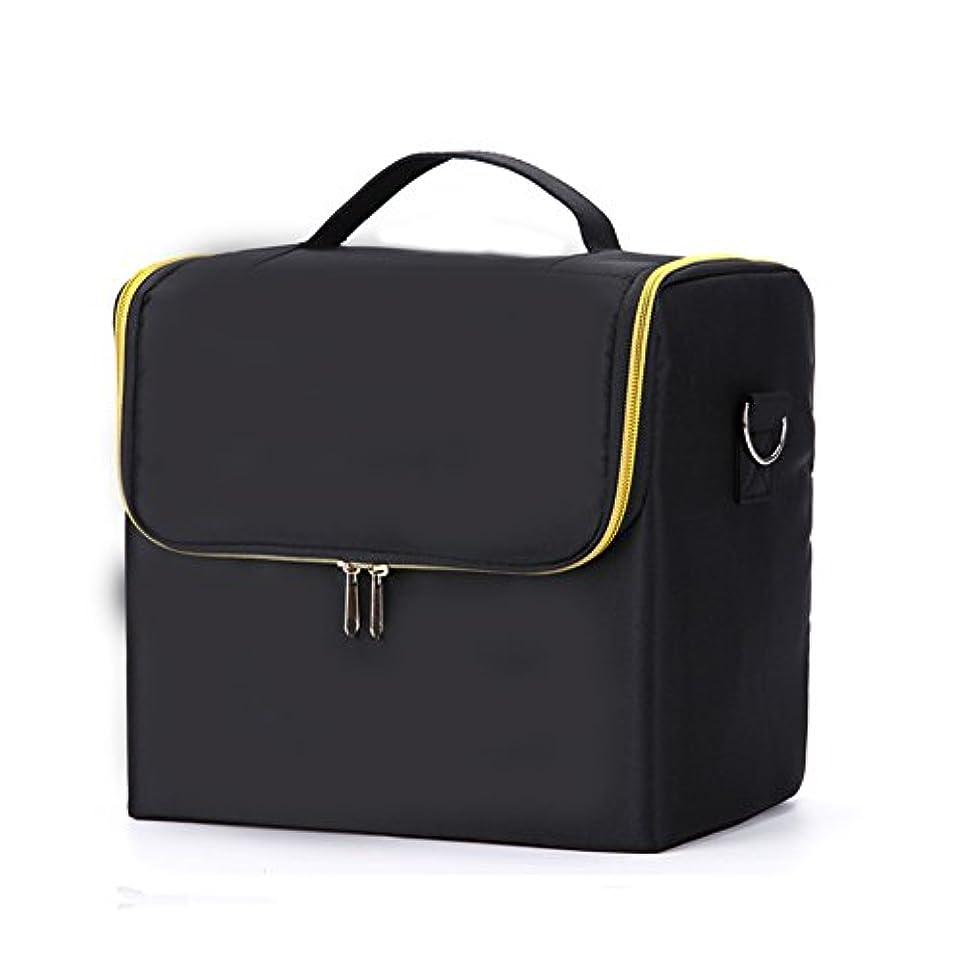 美しい変色する黄ばむSIRIN メイクボックス コスメボックス 大容量 化粧品収納ボックス 収納ケース 小物入れ 大容量 取っ手付 4段階 4色 (ブラックⅡ)