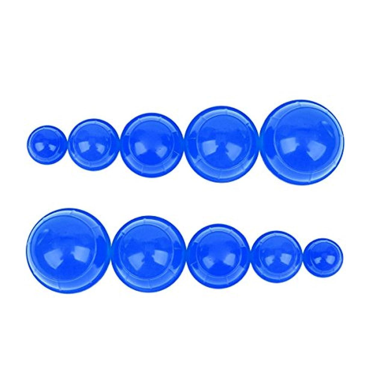 威信輪郭輪郭シリコンカッピング 12個セット 吸い玉 水洗い可能 全身マッサージ CkeyiN (ブルー)
