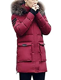 Seaoeeyメンズロングダウンジャケットユース秋冬ファッションウォーターコートフード付き