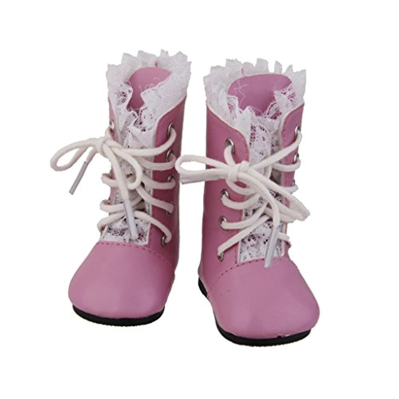 ノーブランド品 アメリカンガール 着せ替え人形用靴 女の子の人形 ブーツ 飾り ギフト 全2色選べ - ピンク