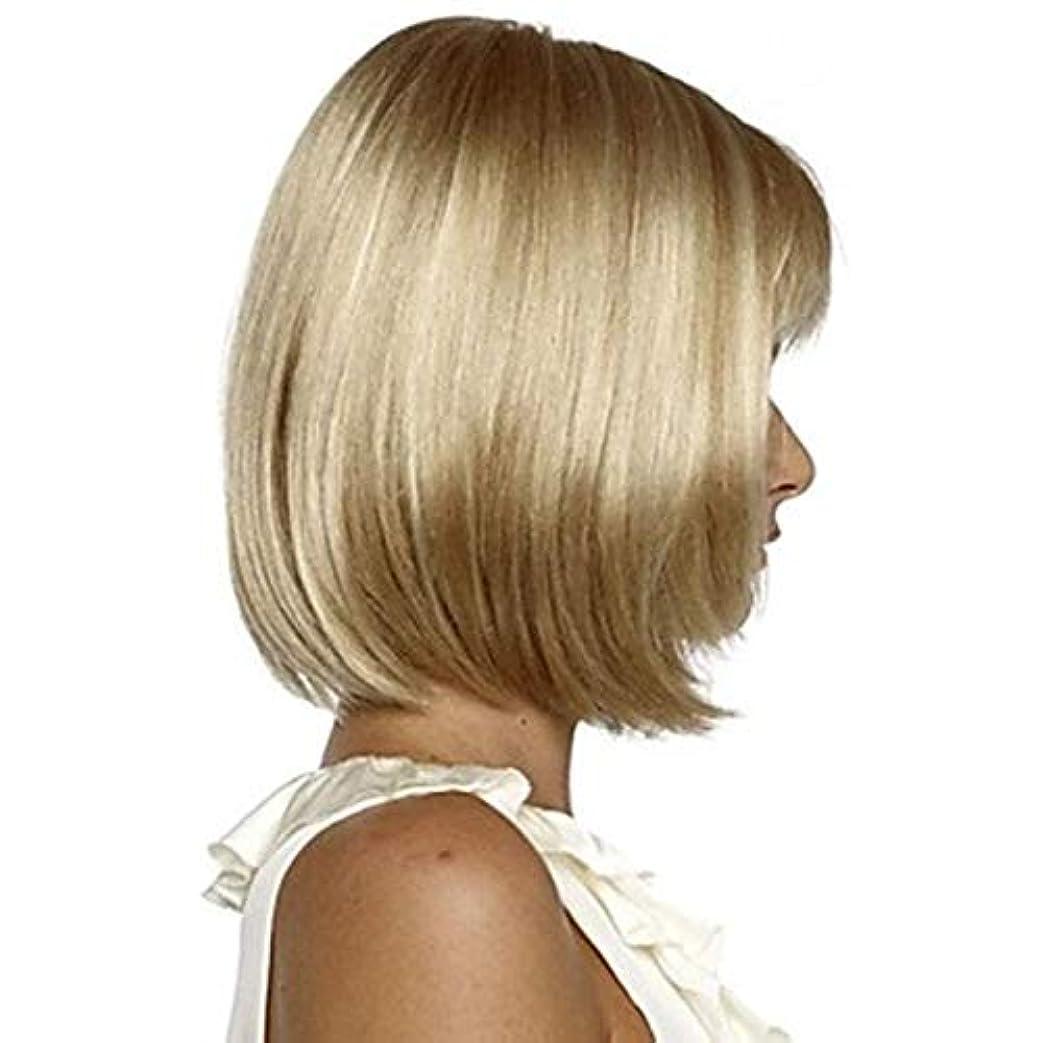 サーバミッション規則性女性の好きなウィッグ HAIRJOYホワイト女性の合成全ウィッグショートストレートボブ髪型ブロンドのハイライトヘアウィッグ耐熱 (Color : Blonde, Stretched Length : 14inches)