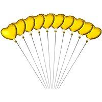 ミニバルーン スティック付き ハート 10本セット 10本セット ゴールド 【バルーン8cm 全長30cm】