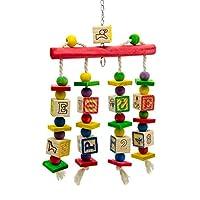 B Blesiya 鳥おもちゃ インコ 木製 ペット 咀嚼おもちゃ 歯ケア ストレス解消 止まり木 高さ約35cm