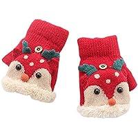 ShiyiUP Unisex Boys Girls Flip Top Gloves Warm Half Finger Stretchy Knit Gloves