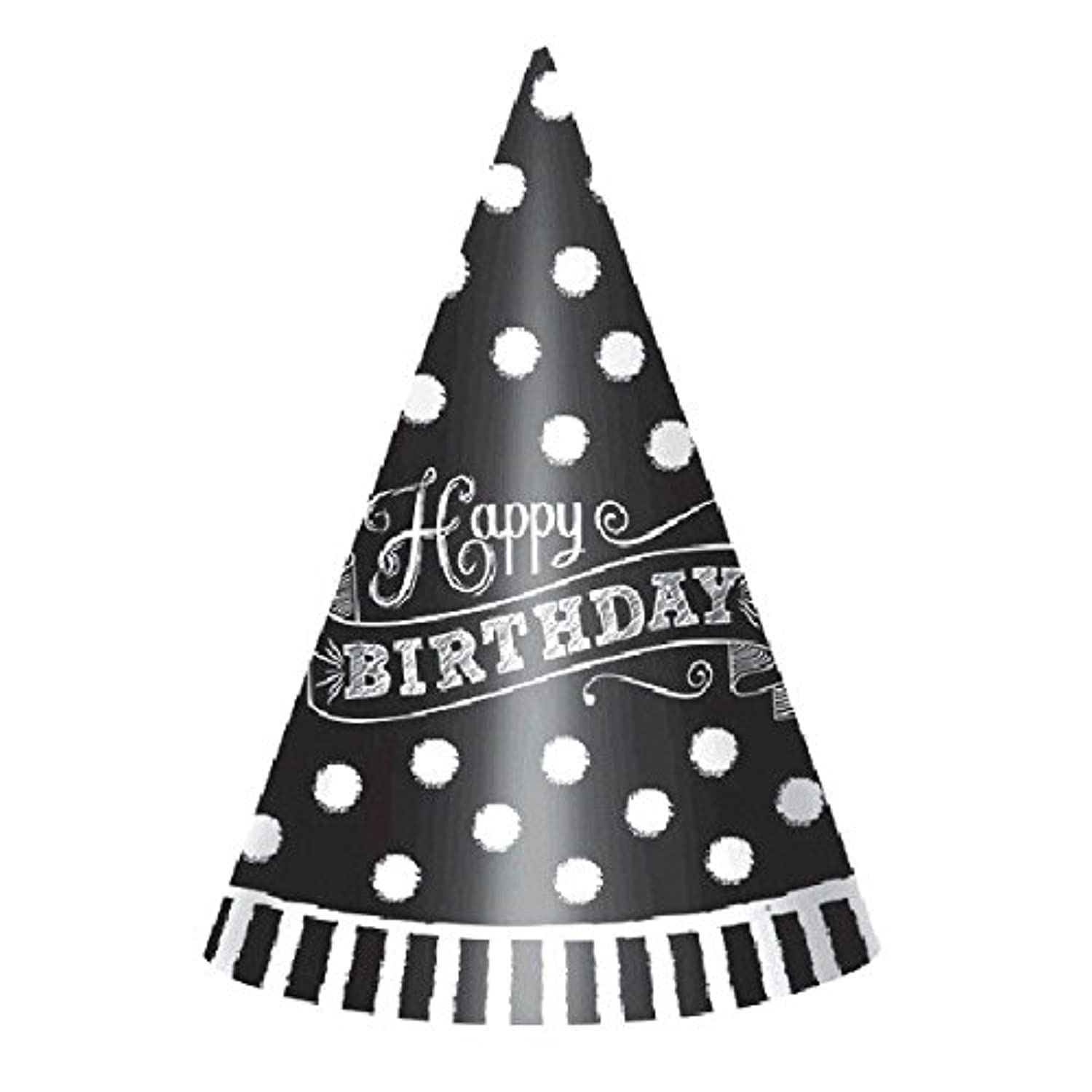 Black And White Cone Party Hat 12ct [contains 3 Manufacturer Retail Unit(s) Per