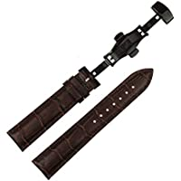 RECHERE 16mm Brown Leather Watch Band Replacement Strap Push Button Deployment Black Clasp