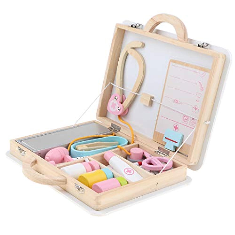 B Blesiya 15個入り 木製 医薬箱 お医者さん ごっこ遊び ロールプレイセット
