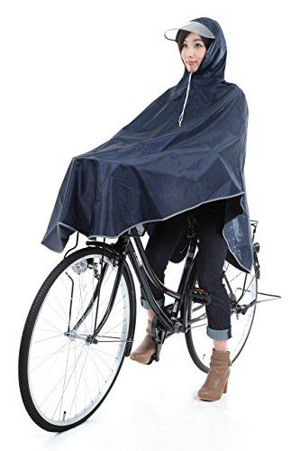 【krosta】グッジョブ!! 自転車用 ロングレインコート ポンチョタイプ フリーサイズ (ネイビー)