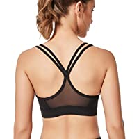 Yvette Sports Bra for Women Strappy Y Back Mesh Splicing Removable Pads Sports Bra for Large Busted Yoga Pilates Women