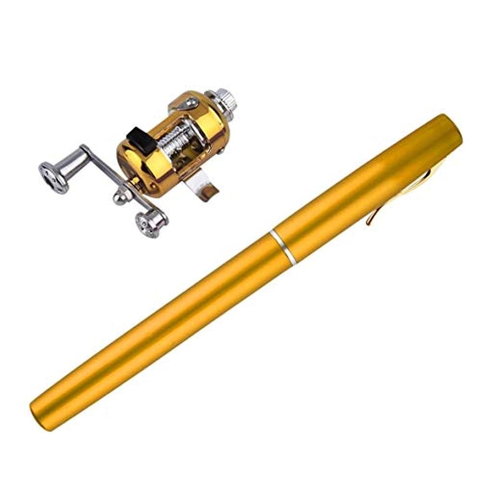 増加する殉教者即席ユニークなデザインの釣り竿ポータブルミニ釣りポールアルミ合金ペン形状の釣りロッドリールホイール6色