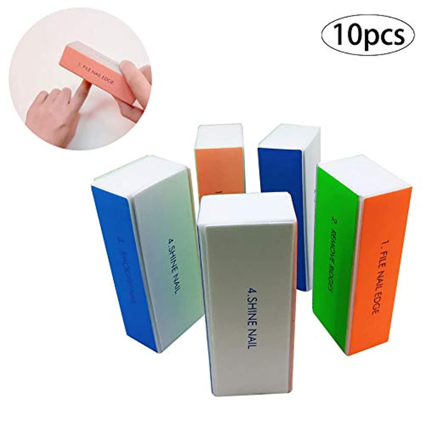 読みやすさ保険粘り強いプロのサロンや家庭用10PCSプロフェッショナルネイルキット4ウェイネイルバッファブロックファイルマニキュアマニキュア製品