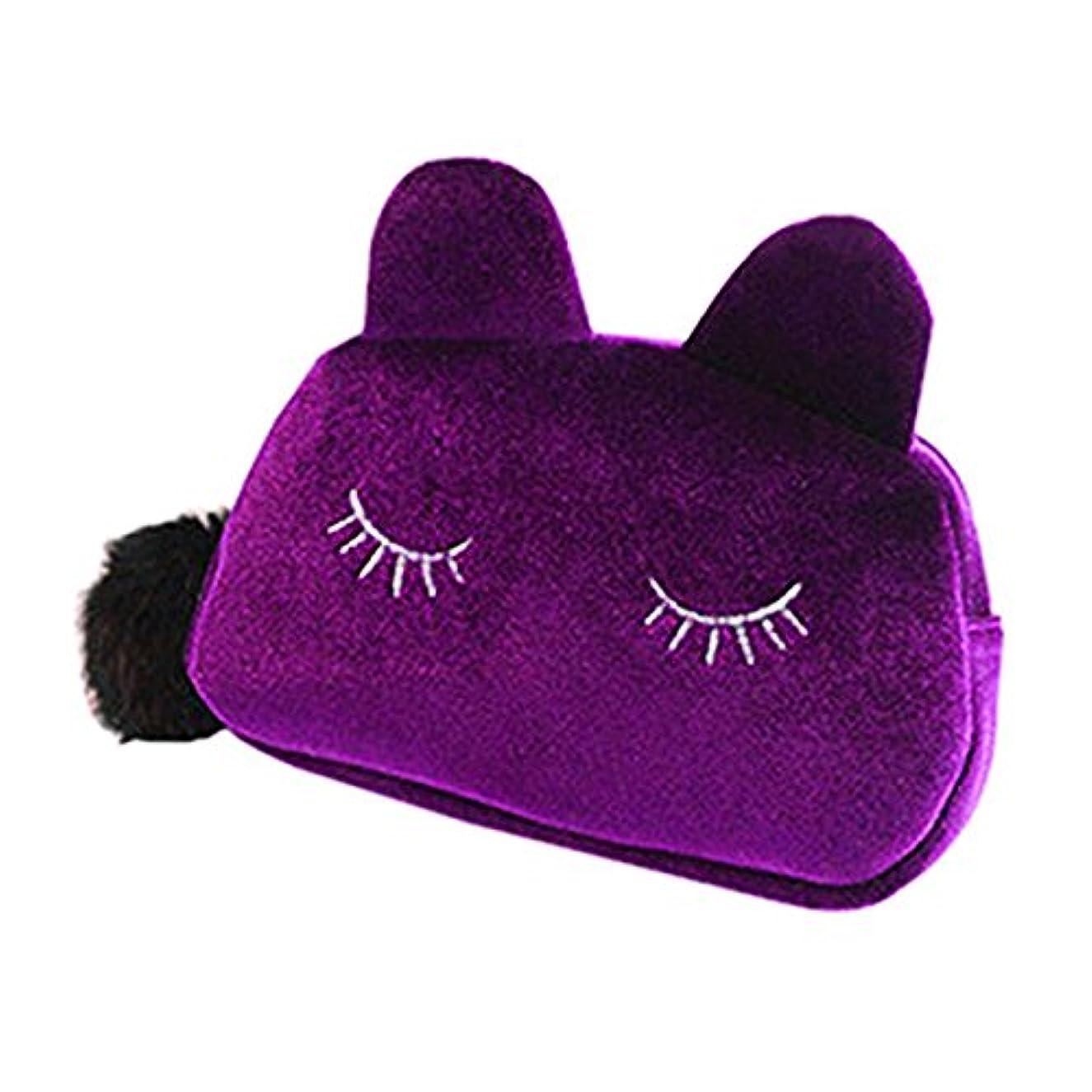 ストライプ口ひげ深遠猫 化粧ポーチ バニティベロア ポンポン付き パープル