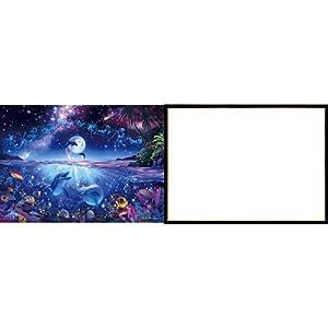 3000ピース 光るジグソーパズル 究極パズルの達人 ラッセン 星に願いを スモールピース(73x102cm)+ジグソーパネル 木製ゴールドライン シャインブラック (73x102cm)