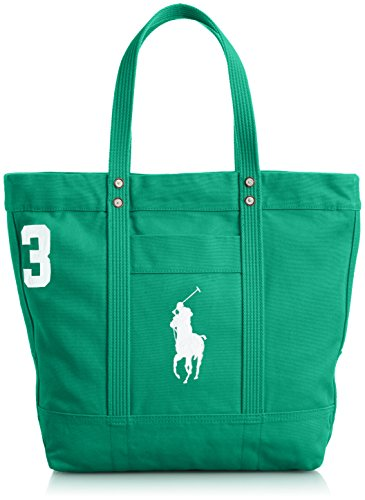 [ポロラルフローレン] POLO RALPH LAUREN BIG PONY TOTE【並行輸入品】 405532853008 008 (GALWAY GREEN W WHITE)