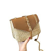 CUHAWUDBA 女性のためのフリンジチェーンスモールフラップバッグわらクロスボディバッグレディースサマーメッセンジャーショルダーハンドバッグと財布、ブラウン