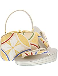 [ 京都きもの町 ] 振袖 草履バッグセット ゴールド 七宝文 Lサイズ 成人式 三枚芯 フォーマル 和装バッグ
