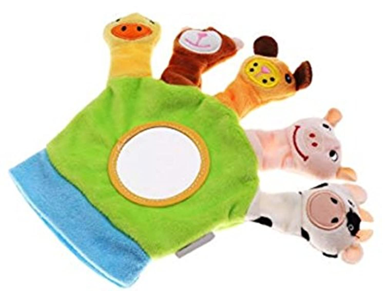 ychoice面白いFinger Puppetsトイキュートベビー子動物園ファームアニマルハンドSock Glove Puppet Finger袋Plush Toy (グリーン)