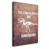 アートワーク ホームオフィスの壁の装飾 20x30 CM センチ 塗り絵 フレームレス 古生物学者 掘る 恐竜 化石 アニマル柄 デザイン