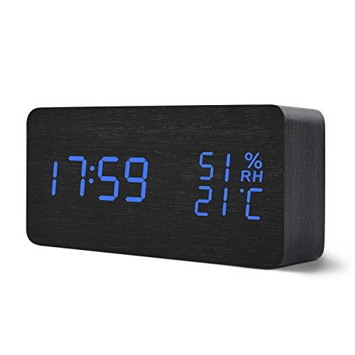 Teecoo デジタル 卓上 目覚まし 大音量 多機能 置き時計 オシャレ インテリア 室温表示 湿度表示 音感センサー アラーム複数設定 日付 輝度調節 設定記憶 省エネ機能 乾電池式 USB電源 プレゼント アラームクロック ブラック・ブルー