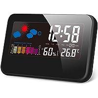 クロック 時計 目覚まし時計 置き時計 デジタル湿度計 LCD大画面 温度計 湿度計 室内温度と湿度/時間/月日/曜日/最高最低温湿度/温度傾向図表示 USB給電/電池 アラーム/センサー/バックライト/多機能