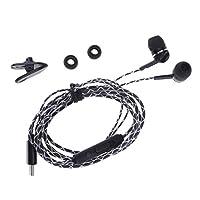 Fenteer プラスチック 120 cm  マイク付き USB タイプC デジタルヘッドフォン スポーツイヤホン リモコン 全2色 - 黒
