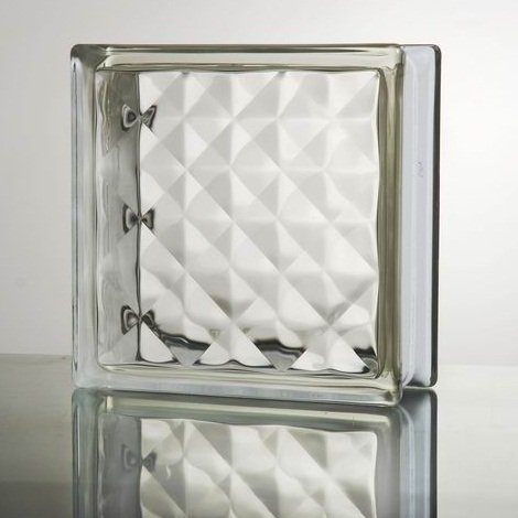 ガラスブロック (厚み80mm クリア色宝石ライン) gb0280
