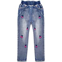 Kidscool Space Girls Cherry Embroidered Washed Elastic Waist Cotton Jeans