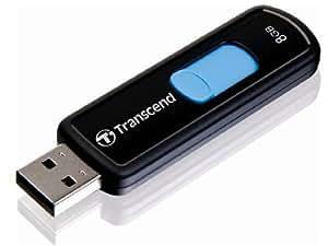 Transcend USBメモリ 8GB USB 2.0 スライド式 ブラック (無期限保証) TS8GJF500