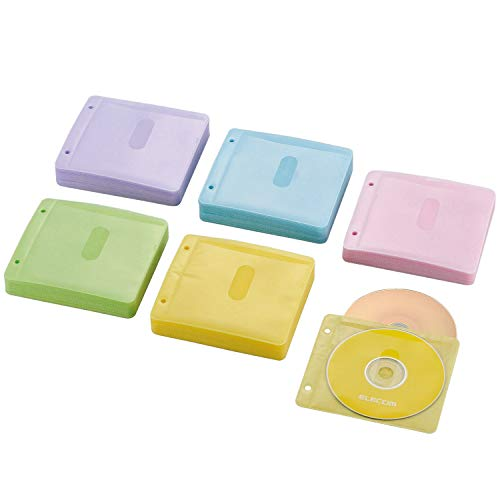 『エレコム DVD CDケース 不織布 両面収納 2穴付 120枚入 240枚収納可 5色アソート CCD-NBWB240ASO』のトップ画像
