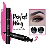 Original Eyeliner Stamp by LA PURE (2 Pens) - 2 double-sided pens, winged liquid eyeliner stamp & pencil, Vamp style wing, smudgeproof, waterproof, long-lasting, No Dripping (10mm, Black/Gold Box) (8mm, Black/White Box)