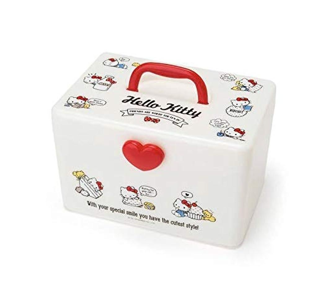 アウターアフリカ自発的キティ 持ち手付き収納ボックス サンリオ 裁縫箱 救急箱 メイクボックス コスメケース