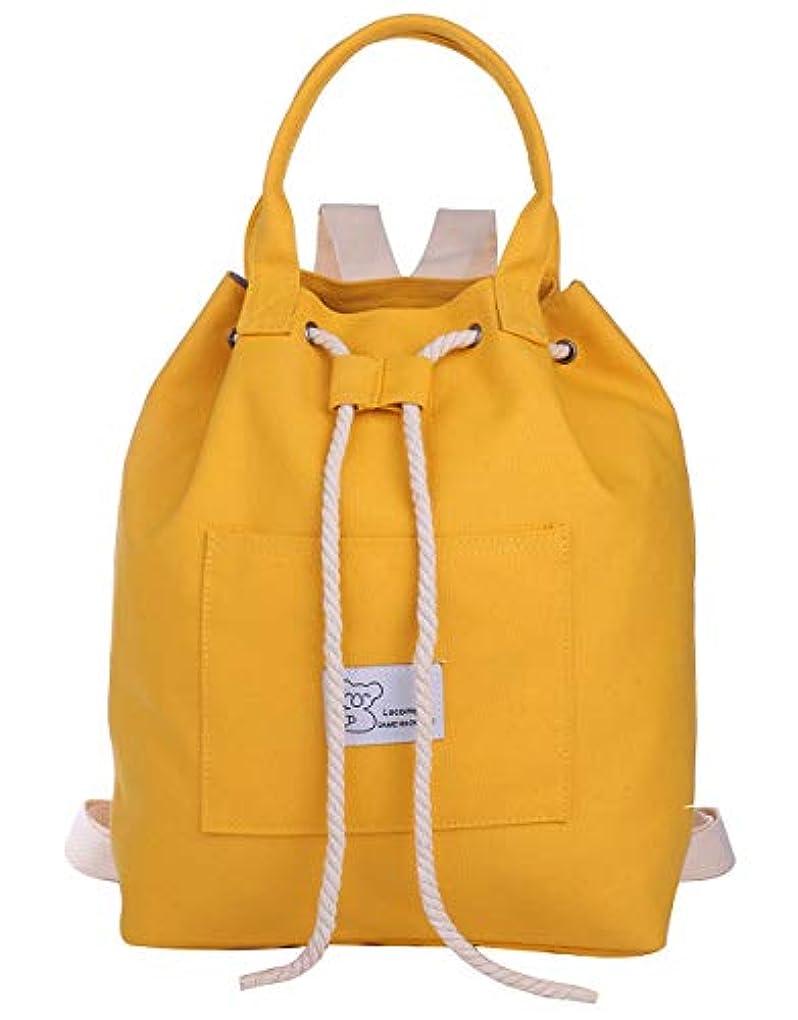 未使用通訳機会[エンジェルムーン] キャンバス リュック レディース 巾着 ナップザック A4 小さめ 帆布 カジュアル