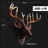 CZ-wyf 彫刻像レトロな銅・ウォールミューラルウォールホームファニシング鹿のペンダント動物の頭部バーインテリアShoutou彫刻像 (Color : 2)