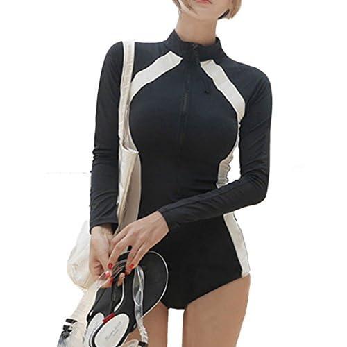 (ラウンドアース レディース) Round Earth Ladies ラッシュガード 長袖 ジッパー で 着脱 楽チン &  スタイルアップ に 効果抜群 M ブラック