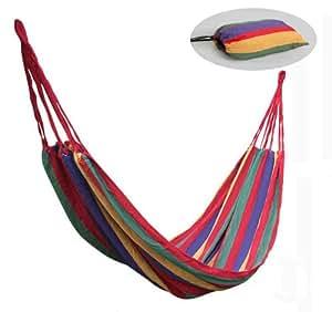 【耐荷重120㎏】やわらか 布製ハンモック 専用ポーチ付 アウトドア お昼寝