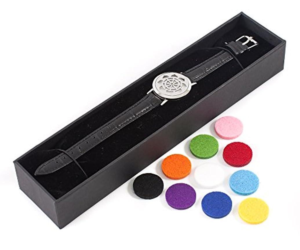 資本のみきらきらMystic Moments | Dharma Wheel | Aromatherapy Oil Diffuser Bracelet with Adjustable Black Leather Strap