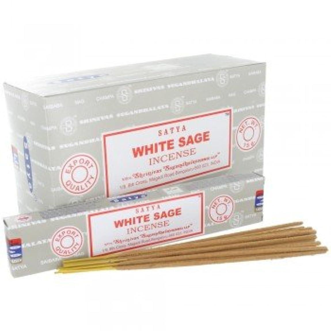サーバント振る舞う肉腫SATYA WHITE SAGE ホワイトセージ 聖なる樹 浄化 お香 スティック 約15g入 (1箱(12個入)) [並行輸入品]