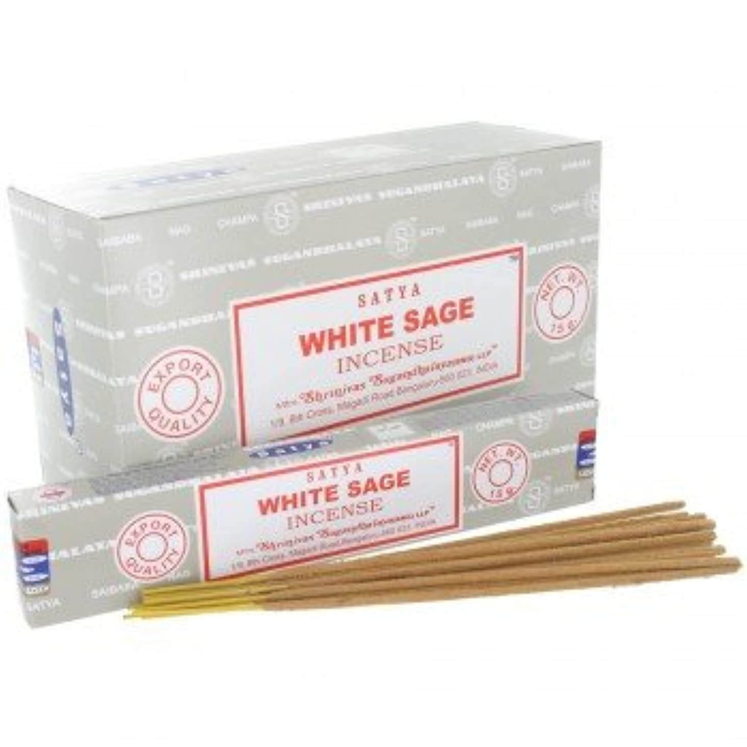 創傷料理をする三SATYA WHITE SAGE ホワイトセージ 聖なる樹 浄化 お香 スティック 約15g入 (1個) [並行輸入品]