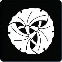 家紋 マウスパッド 三つ組み銀杏紋 15cm x 15cm KM15-1479W 白紋